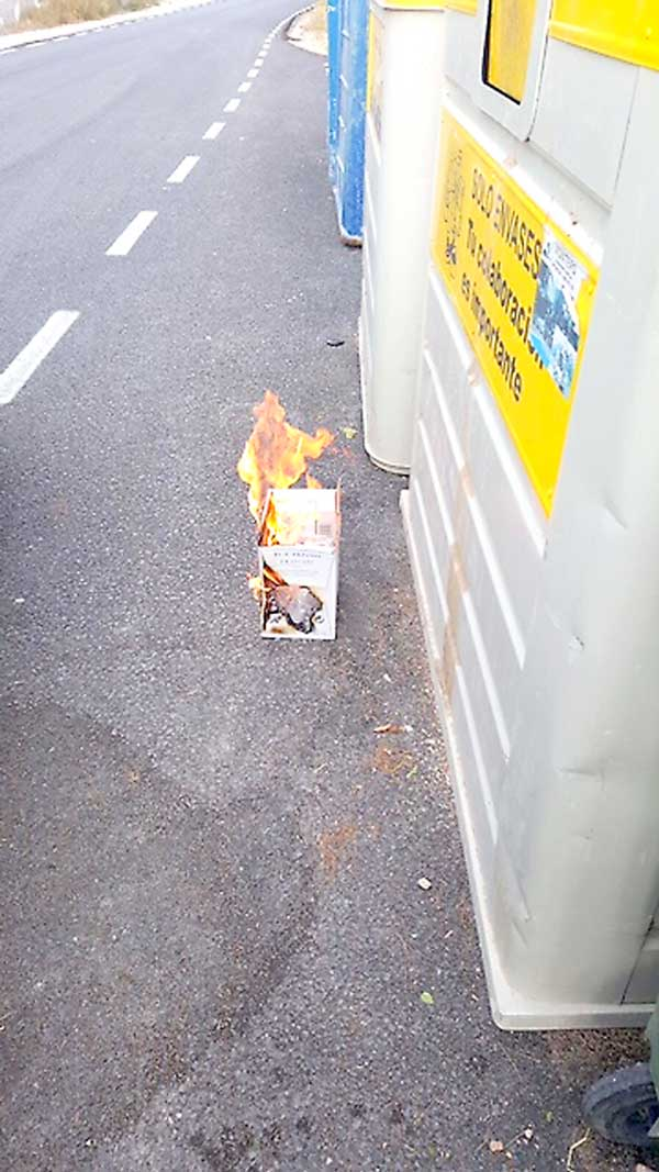 Una vecina de Terol logra detener a tiempo el incendio de un contenedor