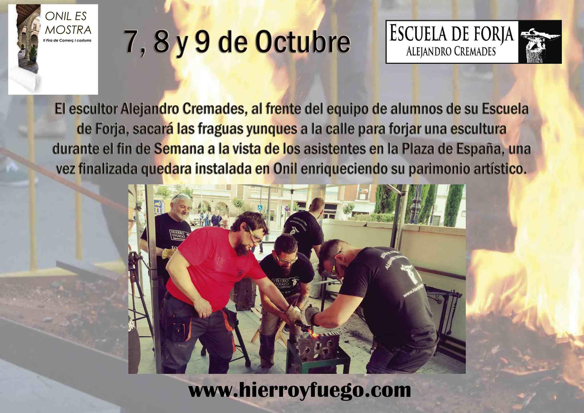 Alejandro Cremades, escultor i ambaixador de la Unesco, realitzarà una escultura de forja durant 'Onil es mostra'