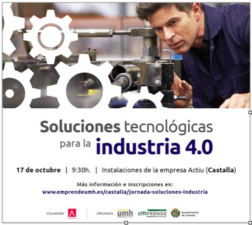 El martes 17 de octubre, jornada en Actiu sobre soluciones tecnológicas para la industria 4.0