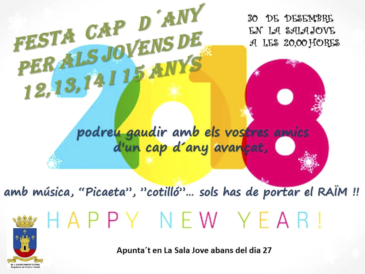 Onil organitza la primera festa de cap d'any per a joves d'entre 12 i 15 anys