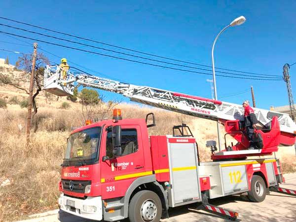 Los bomberos de Ibi rescatan a un gato que llevaba dos días subido a un poste