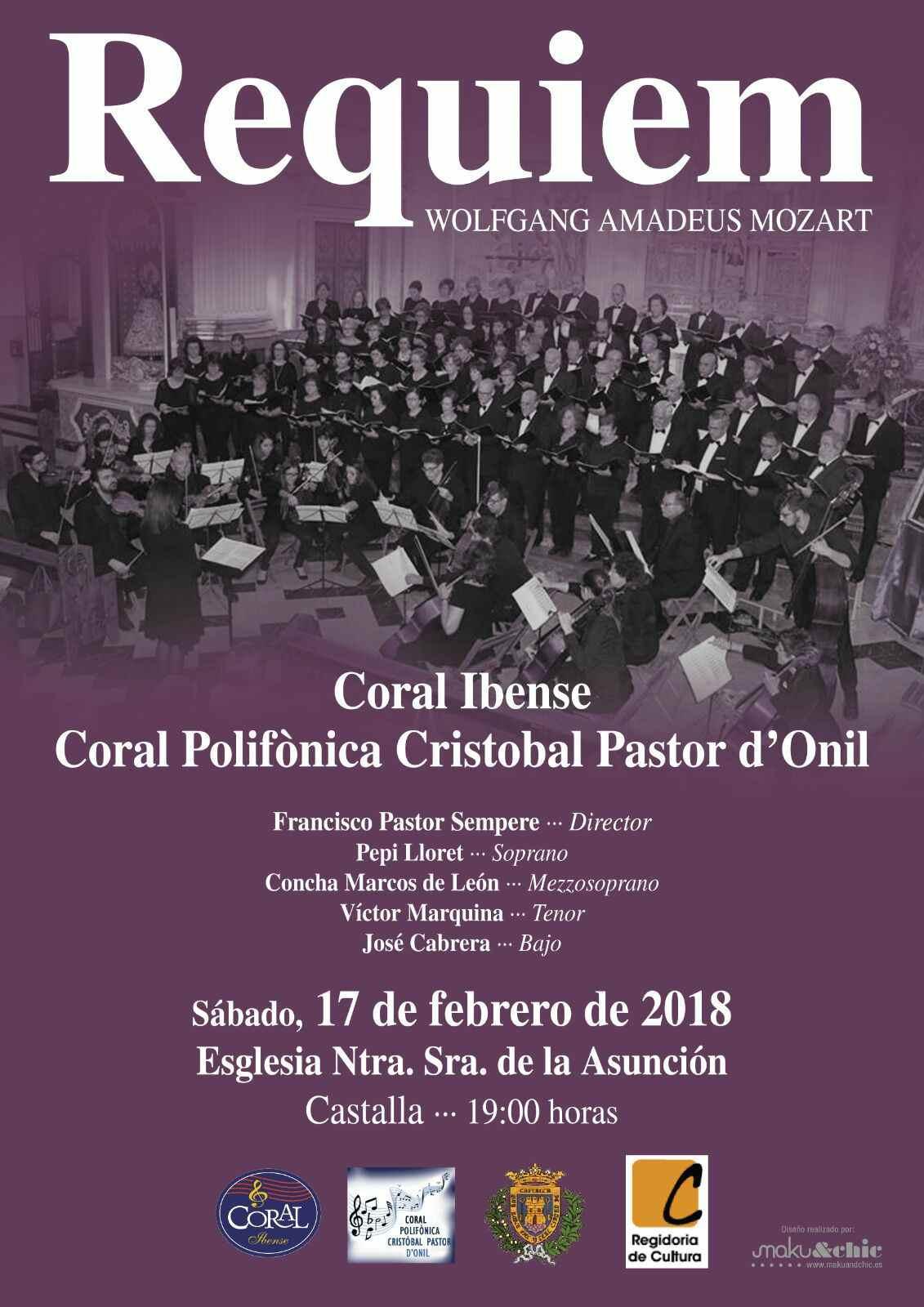El sábado 17 de febrero, las corales de Onil e Ibi y la Camerata de la Foia interpretan el 'Réquiem' de Mozart en la Iglesia de Castalla