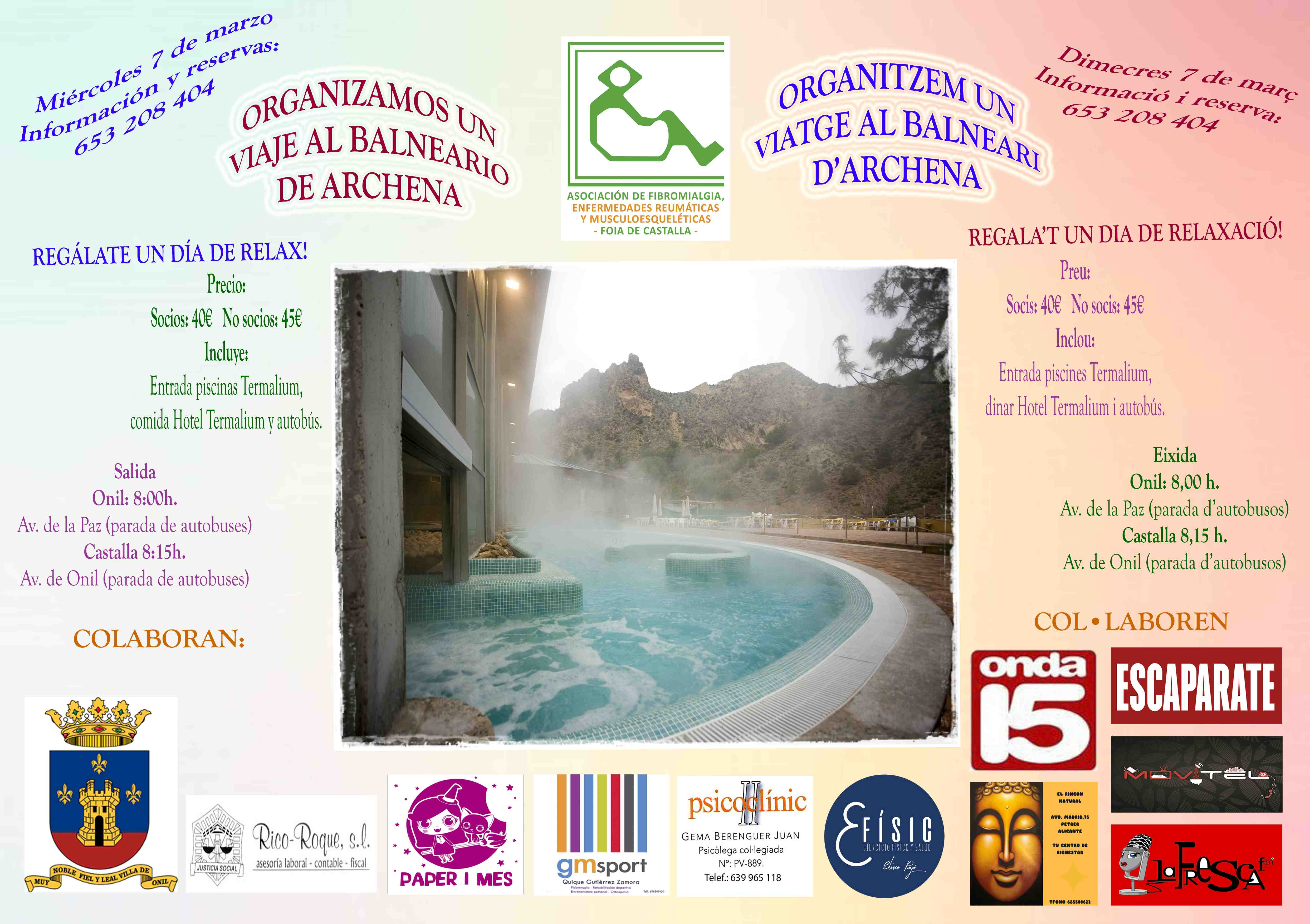 Viaje al balneario de Archena y charla sobre alimentación, nuevos eventos de la Asociación de Fibromialgia de la Foia