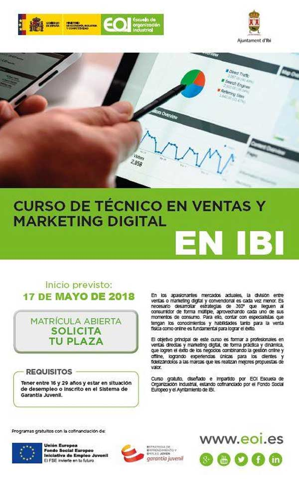 Curso de Técnico en Ventas y Marketing Digital para jóvenes de entre 16 y 29 años