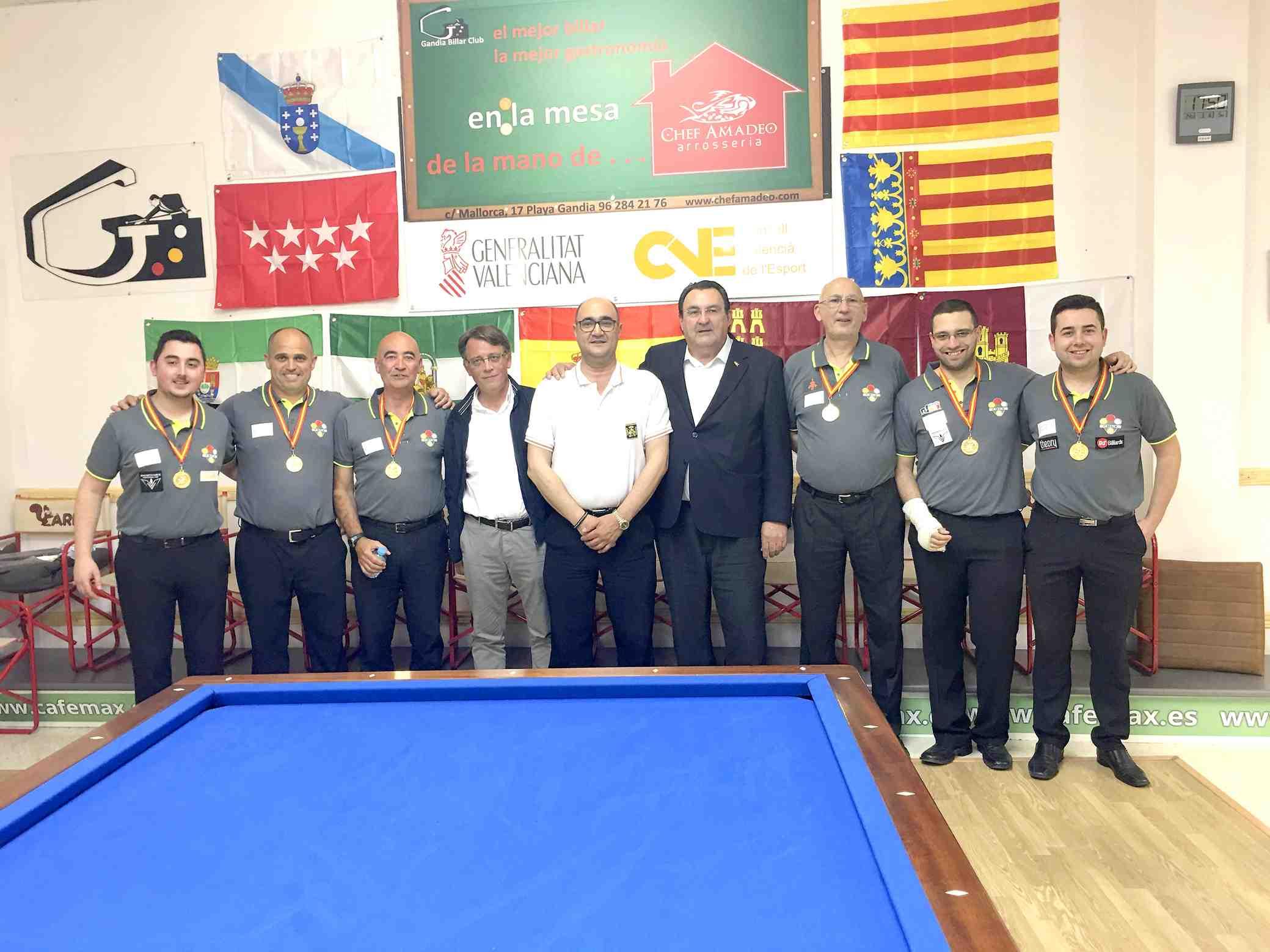Los castallenses Jesús Rico y Andrés Carrión ganan el Campeonato de España de Billar con la Selección Valenciana
