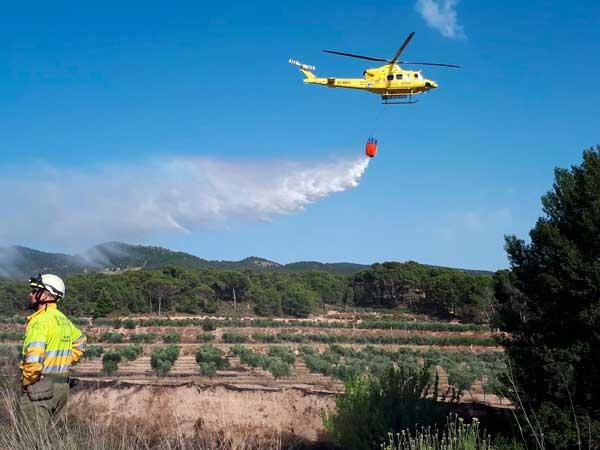 Mitjans aeris i terrestres participen en l'extinció de l'incendi a la Font Negra d'Ibi