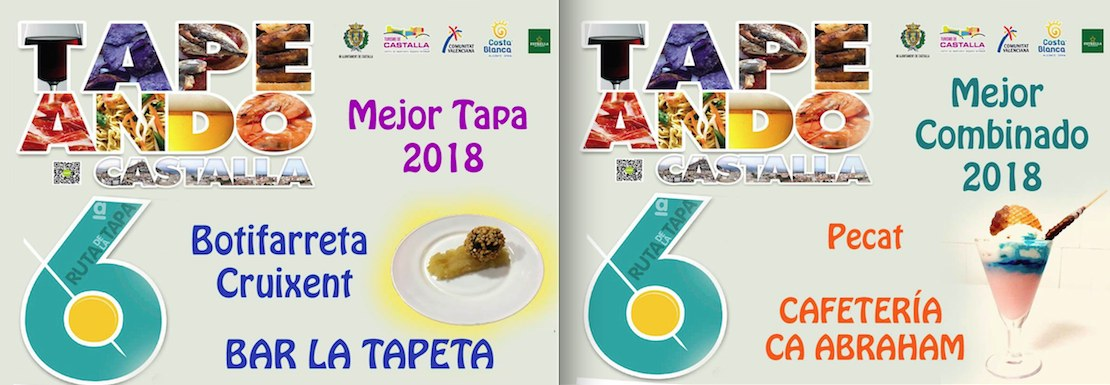 Las propuestas gastronómicas de La Tapeta y Ca Abraham ganan la sexta Ruta de la Tapa de Castalla