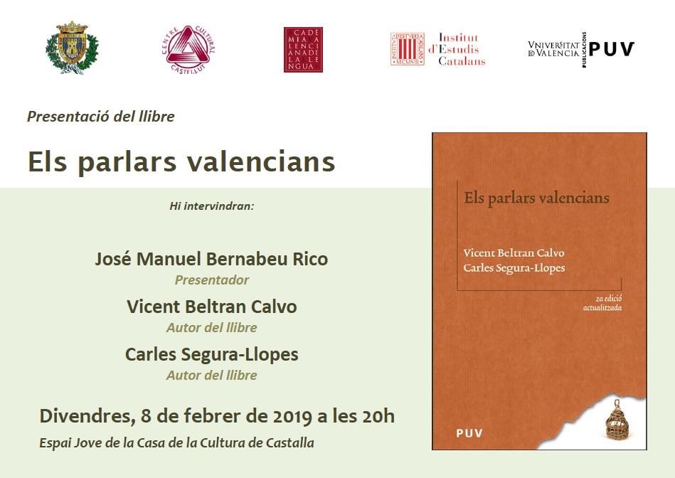 El Centre Cultural Castellut organitza la presentació del llibre 'Els parlars valencians'