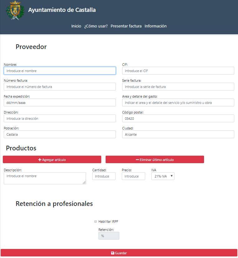 El Ayuntamiento de Castalla activa un formulario en internet para la facturación de los proveedores