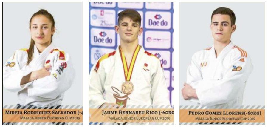 Los judocas de Castalla Mireia Rodríguez, Jaume Bernabeu y Pedro Gómez compiten en la Copa de Europa Júnior