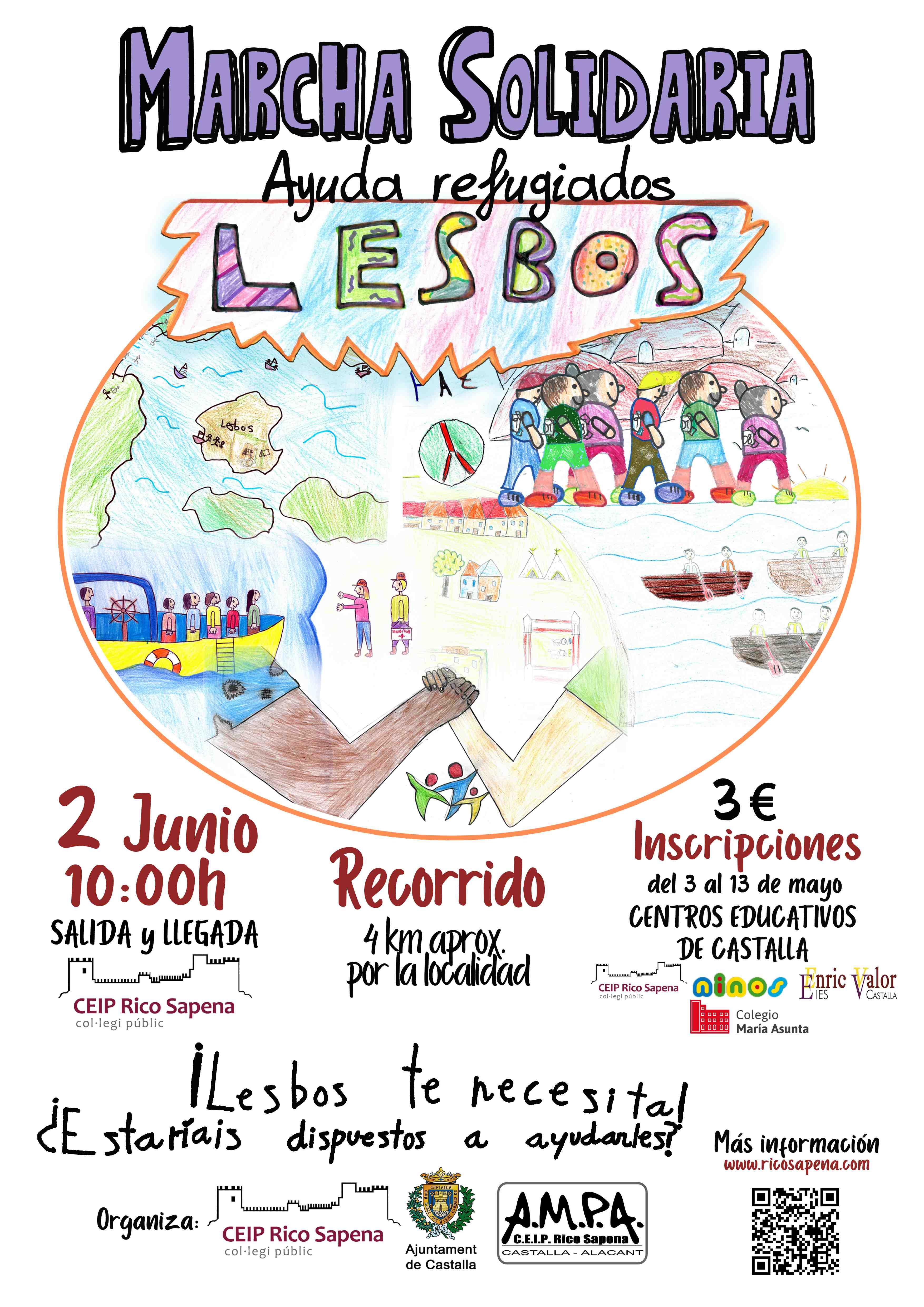 Marxa solidària per ajudar els refugiats de Lesbos per iniciativa d'alumnes del col·legi Rico Sapena de Castalla