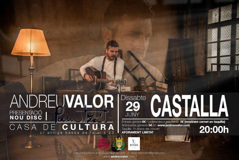 El cantant contestà Andreu Valor presenta el seu nou disc el 29 de juny en Castalla