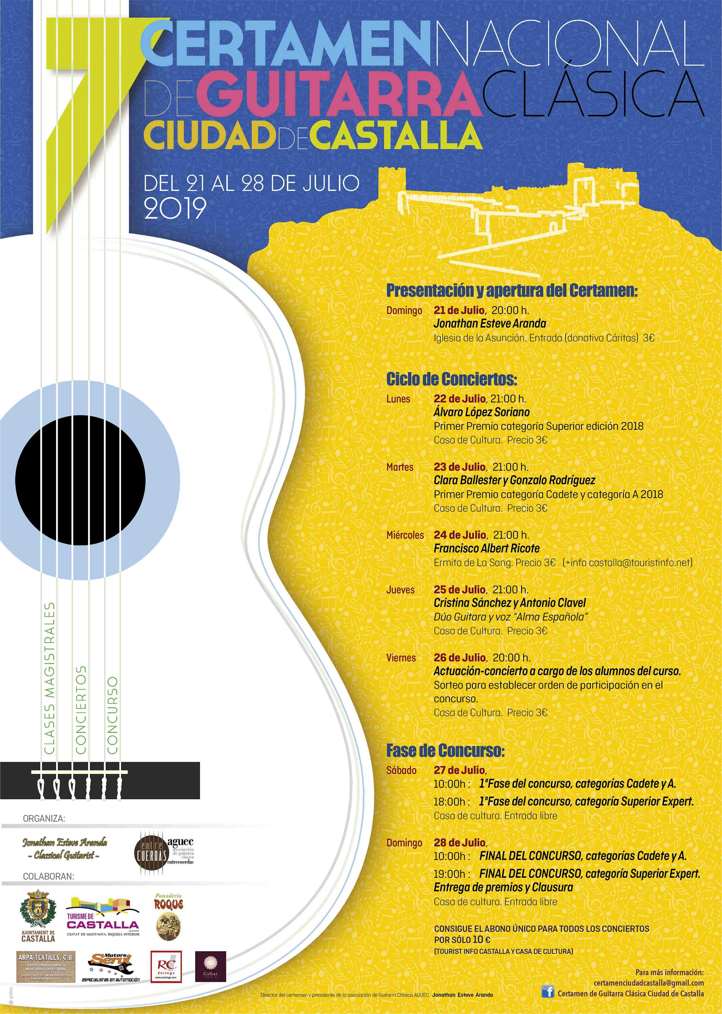 Del 21 al 28 de julio, séptimo Certamen Nacional de Guitarra Clásica 'Ciudad de Castalla'