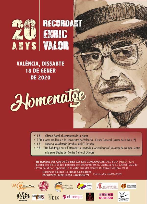 El Centre Cultural Castellut organitza un homenatge en València a Enric Valor