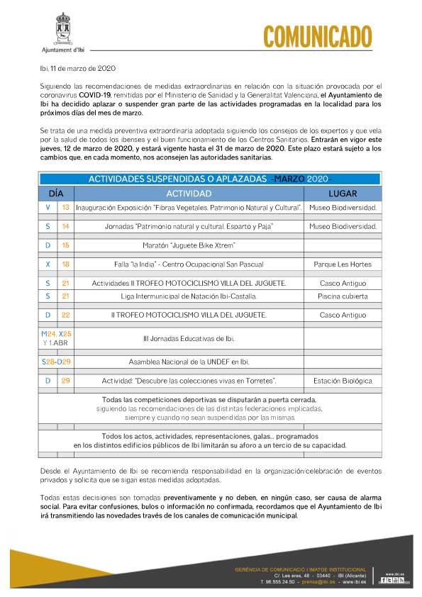 L'Ajuntament d'Ibi suspén o ajorna totes les activitats programades per al març