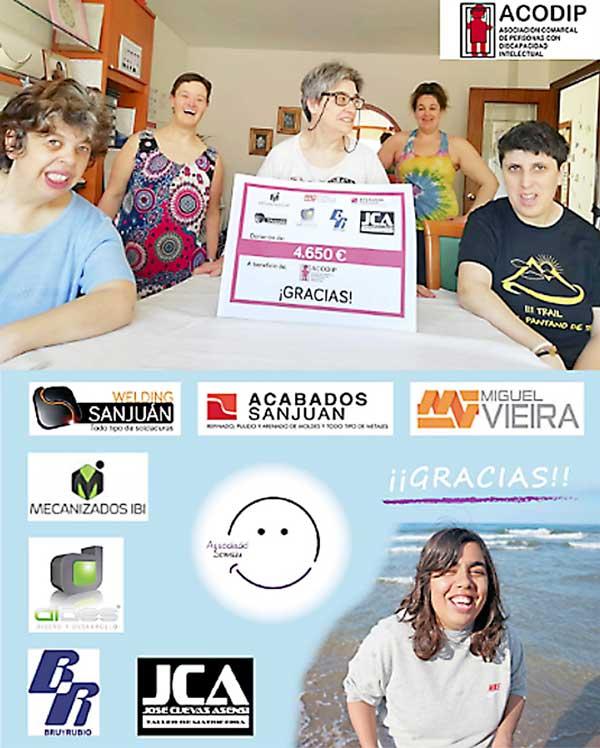 Empresas de IBIAE donan más de 9.000 euros a Acodip y a Somriu