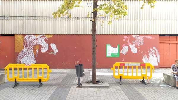 L'artista ibense Fefeto pinta de nou el mural que va ser atacat el Dia de l'Orgull